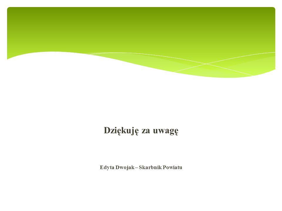Dziękuję za uwagę Edyta Dwojak – Skarbnik Powiatu