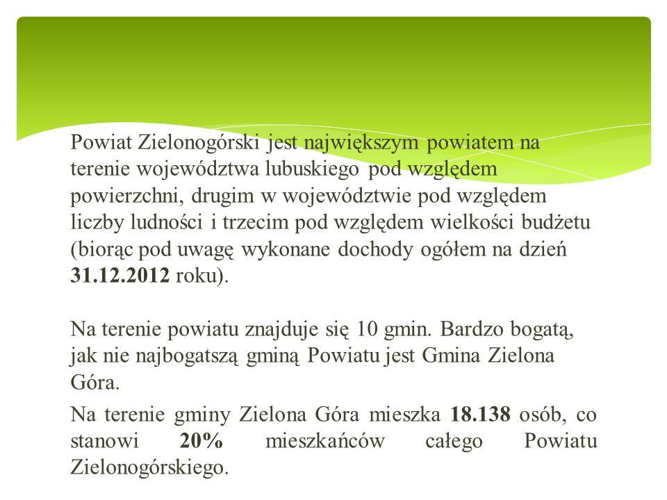 Powiat Zielonogórski jest największym powiatem na terenie województwa lubuskiego pod względem powierzchni, drugim w województwie pod względem liczby ludności i trzecim pod względem wielkości budżetu (biorąc pod uwagę wykonane dochody ogółem na dzień 31.12.2012 roku).