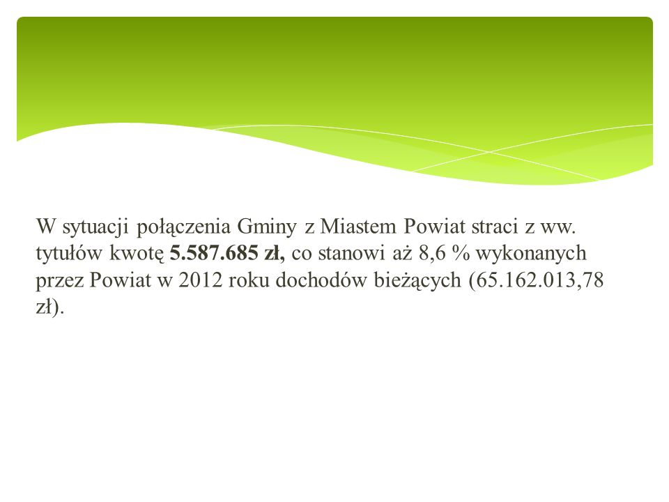 W sytuacji połączenia Gminy z Miastem Powiat straci z ww.