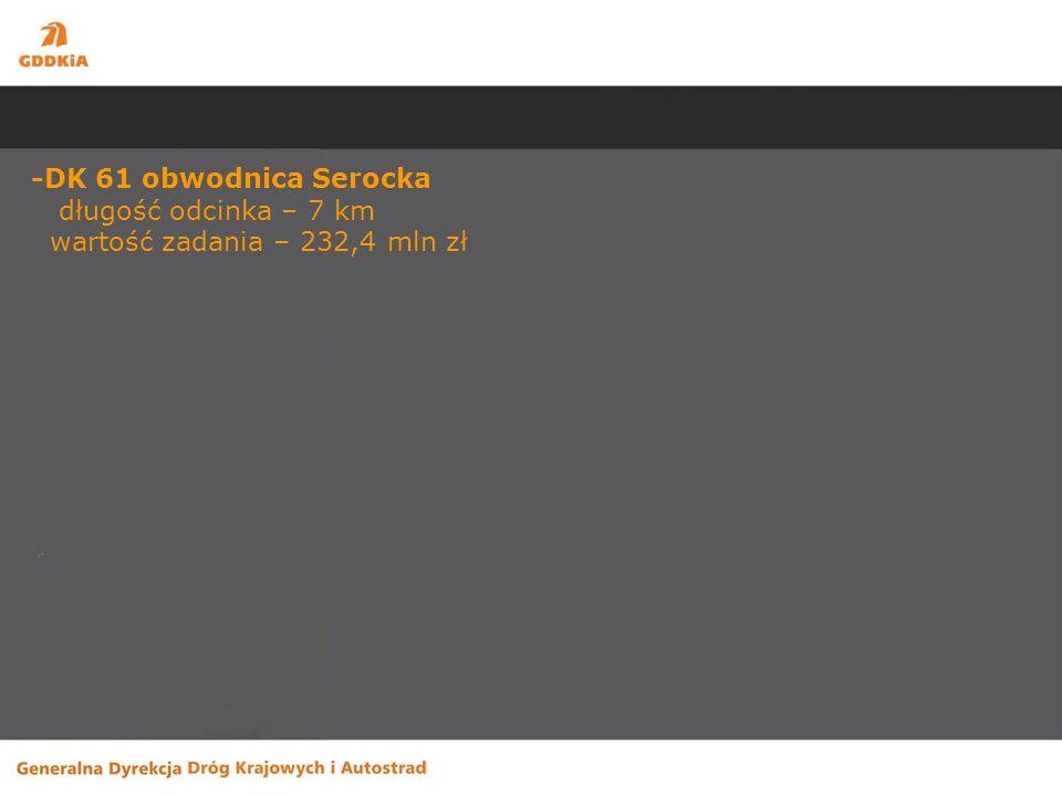 -DK 61 obwodnica Serocka długość odcinka – 7 km wartość zadania – 232,4 mln zł