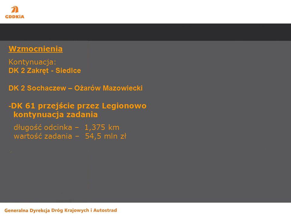 Wzmocnienia Kontynuacja: DK 2 Zakręt - Siedlce DK 2 Sochaczew – Ożarów Mazowiecki - DK 61 przejście przez Legionowo kontynuacja zadania długość odcinka – 1,375 km wartość zadania – 54,5 mln zł
