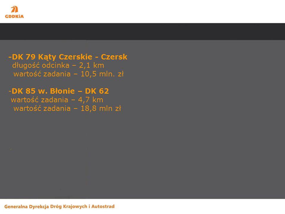 Zadania planowane do realizacji po 2012 (drugi budżet unijny) Inwestycje -S-8 Marki - Radzymin długość odcinka – 14 km (z możliwością przyspieszenia realizacji w przypadku uzyskania finansowania) -S-17 Wschodnia Obwodnica Warszawy długość odcinka – 19,24 km (z możliwością przyspieszenia realizacji w przypadku uzyskania finansowania)