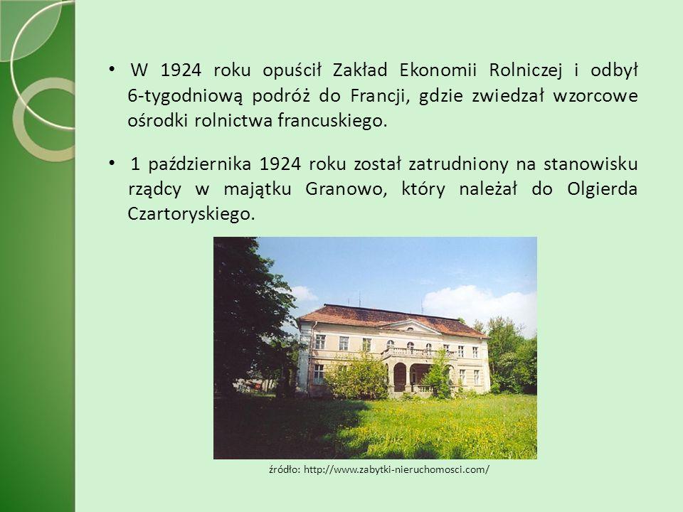 W 1924 roku opuścił Zakład Ekonomii Rolniczej i odbył 6-tygodniową podróż do Francji, gdzie zwiedzał wzorcowe ośrodki rolnictwa francuskiego.
