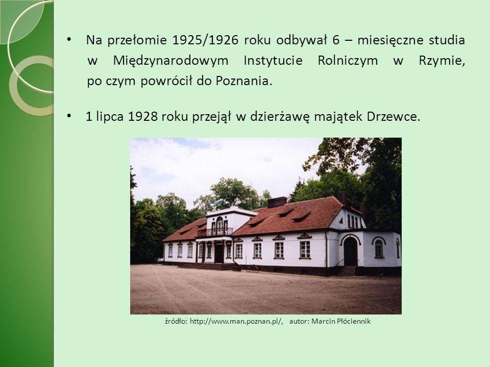 Na przełomie 1925/1926 roku odbywał 6 – miesięczne studia w Międzynarodowym Instytucie Rolniczym w Rzymie, po czym powrócił do Poznania.