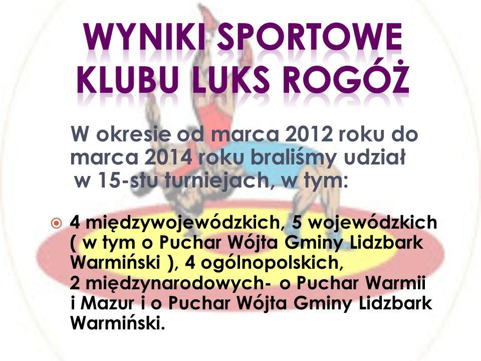 W okresie od marca 2012 roku do marca 2014 roku braliśmy udział w 15-stu turniejach, w tym: 4 międzywojewódzkich, 5 wojewódzkich ( w tym o Puchar Wójta Gminy Lidzbark Warmiński ), 4 ogólnopolskich, 2 międzynarodowych- o Puchar Warmii i Mazur i o Puchar Wójta Gminy Lidzbark Warmiński.