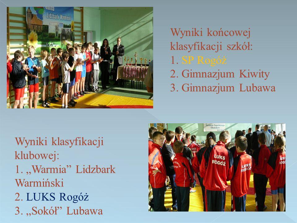 Wyniki końcowej klasyfikacji szkół: 1. SP Rogóż 2.