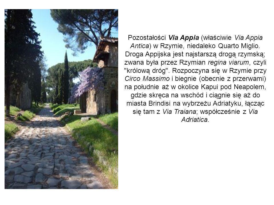 Pozostałości Via Appia (właściwie Via Appia Antica) w Rzymie, niedaleko Quarto Miglio. Droga Appijska jest najstarszą drogą rzymską; zwana była przez