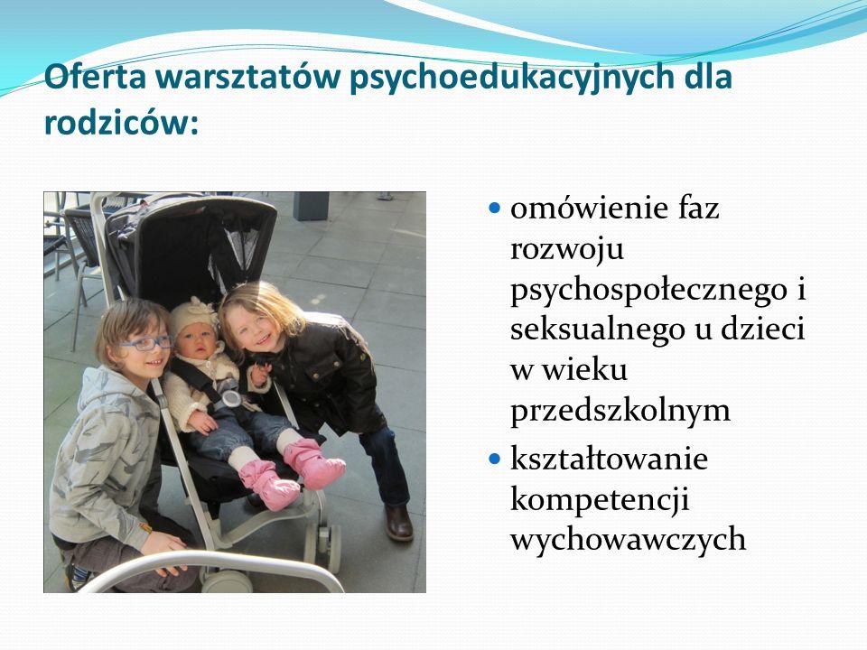 Oferta warsztatów psychoedukacyjnych dla rodziców: omówienie faz rozwoju psychospołecznego i seksualnego u dzieci w wieku przedszkolnym kształtowanie