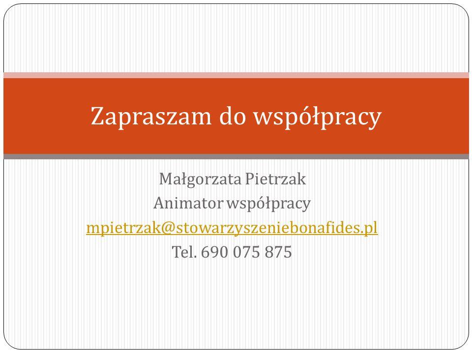 Małgorzata Pietrzak Animator współpracy mpietrzak@stowarzyszeniebonafides.pl Tel.