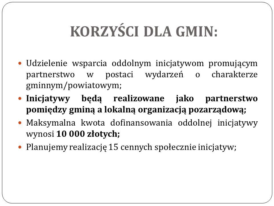 Udzielenie wsparcia oddolnym inicjatywom promującym partnerstwo w postaci wydarzeń o charakterze gminnym/powiatowym; Inicjatywy będą realizowane jako partnerstwo pomiędzy gminą a lokalną organizacją pozarządową; Maksymalna kwota dofinansowania oddolnej inicjatywy wynosi 10 000 złotych; Planujemy realizację 15 cennych społecznie inicjatyw;