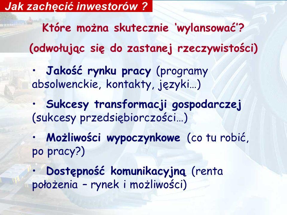 Miękkie i twarde czynniki lokalizacji Inwestorzy a możliwości samorządu Wpływ władz samorządowych na dany czynnik wysoki Waga dla inwestora Niski/a korzystne położenie podaż siły roboczej połączenia komunikacyjne fachowa siła robocza obiekty produkcyjne i biurowe wcześniejsza współpraca inwestora z polskimi partnerami bliskość granic duży rynek zbytu w regionie mała konkurencja ze strony firm lokalnych podaż i dostęp do surowców ceny surowców telekomunikacja lokalne zachęty podatkowe doświadczenia innych spółek infrastruktura techniczna jakość obsługi w urzędzie stosunek władz lokalnych do BIZ nastawienie mieszkańców do inwestycji Na podstawie: Grabow i n.,1995, s.65, za W.