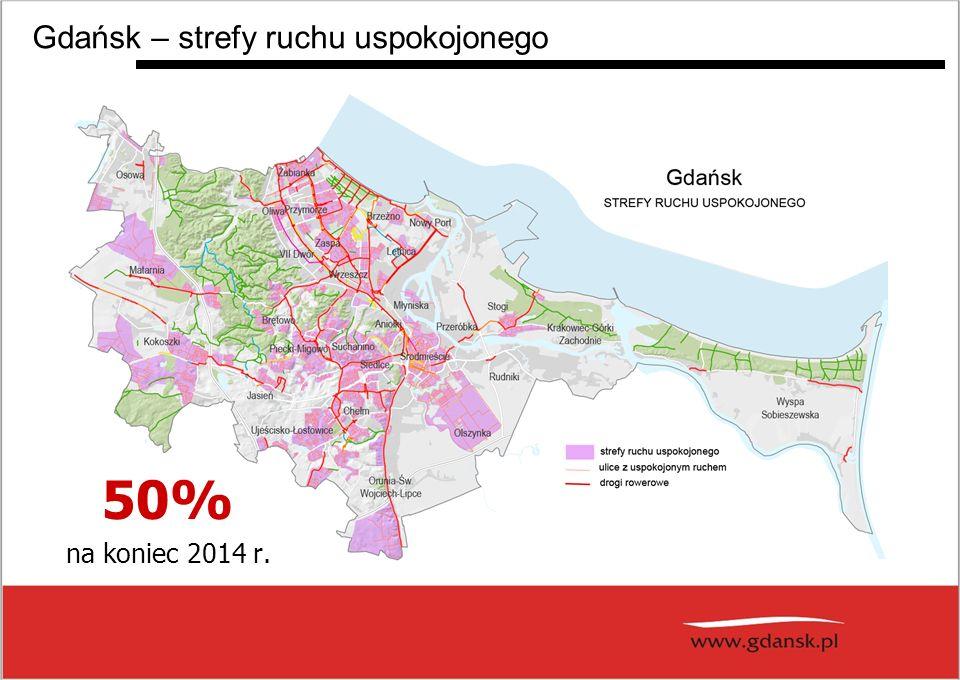 Gdańsk – strefy ruchu uspokojonego 50% na koniec 2014 r.