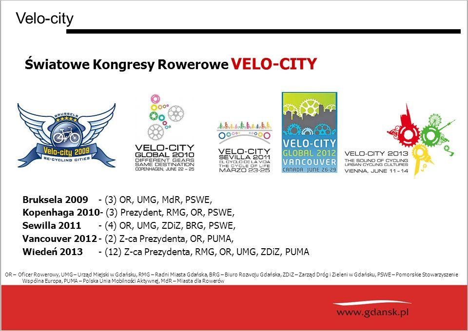 Światowe Kongresy Rowerowe VELO-CITY Velo-city Bruksela 2009- (3) OR, UMG, MdR, PSWE, Kopenhaga 2010- (3) Prezydent, RMG, OR, PSWE, Sewilla 2011- (4) OR, UMG, ZDiZ, BRG, PSWE, Vancouver 2012- (2) Z-ca Prezydenta, OR, PUMA, Wiedeń 2013- (12) Z-ca Prezydenta, RMG, OR, UMG, ZDiZ, PUMA OR – Oficer Rowerowy, UMG – Urząd Miejski w Gdańsku, RMG – Radni Miasta Gdańska, BRG – Biuro Rozwoju Gdańska, ZDiZ – Zarząd Dróg i Zieleni w Gdańsku, PSWE – Pomorskie Stowarzyszenie Wspólna Europa, PUMA – Polska Unia Mobilności Aktywnej, MdR – Miasta dla Rowerów