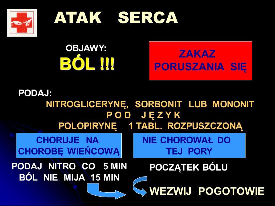 ATAK SERCA OBJAWY: BÓL !!.