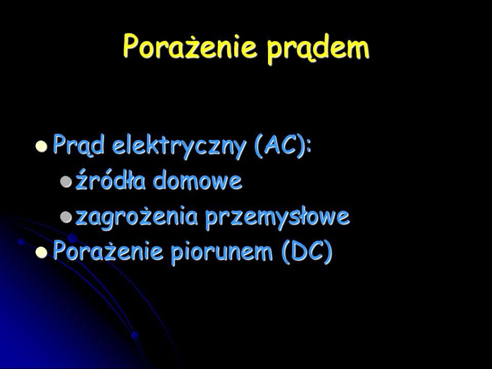 Porażenie prądem Prąd elektryczny (AC): Prąd elektryczny (AC): źródła domowe źródła domowe zagrożenia przemysłowe zagrożenia przemysłowe Porażenie piorunem (DC) Porażenie piorunem (DC)
