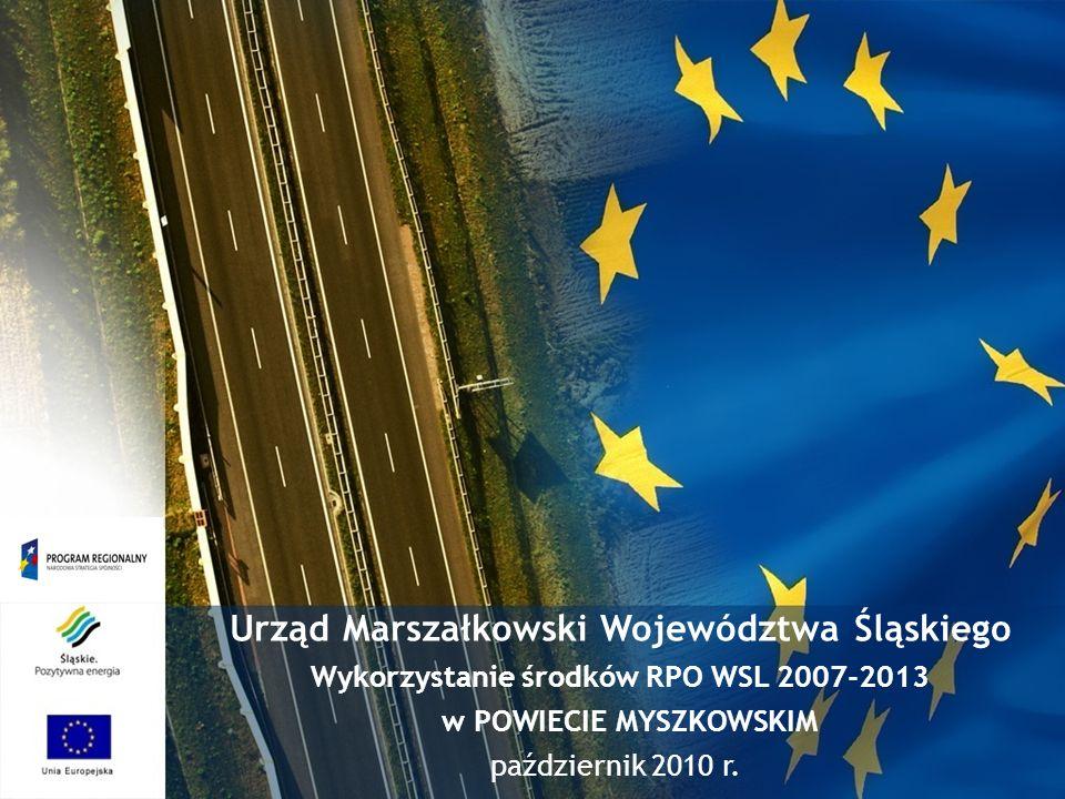 Urząd Marszałkowski Województwa Śląskiego Wykorzystanie środków RPO WSL 2007-2013 w POWIECIE MYSZKOWSKIM październik 2010 r.