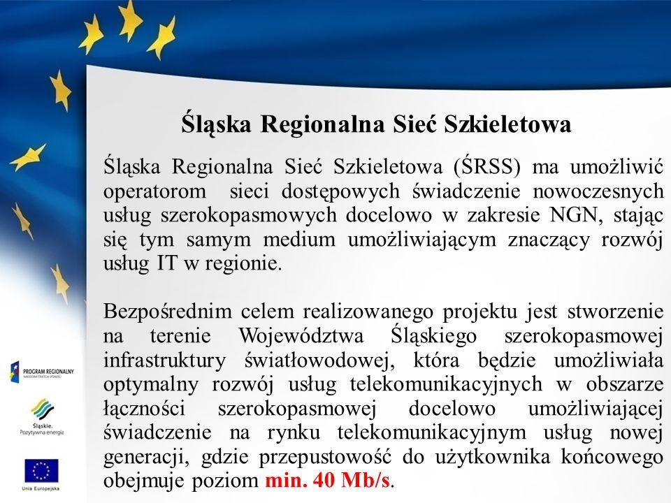 Śląska Regionalna Sieć Szkieletowa (ŚRSS) ma umożliwić operatorom sieci dostępowych świadczenie nowoczesnych usług szerokopasmowych docelowo w zakresie NGN, stając się tym samym medium umożliwiającym znaczący rozwój usług IT w regionie.