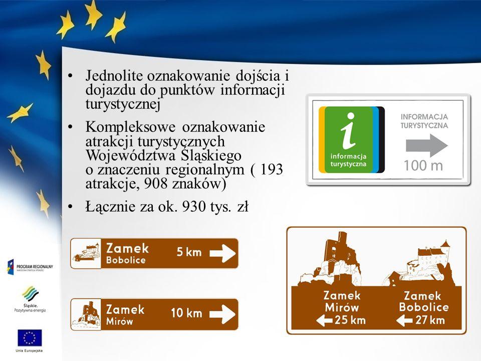 Jednolite oznakowanie dojścia i dojazdu do punktów informacji turystycznej Kompleksowe oznakowanie atrakcji turystycznych Województwa Śląskiego o znaczeniu regionalnym ( 193 atrakcje, 908 znaków) Łącznie za ok.
