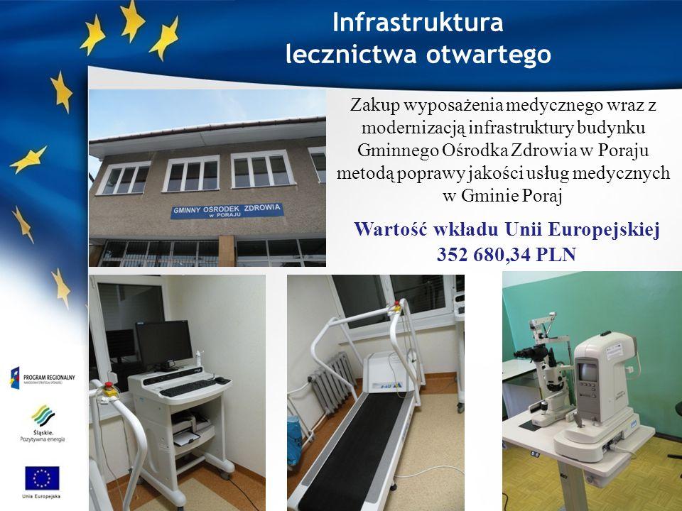 Zakup wyposażenia medycznego wraz z modernizacją infrastruktury budynku Gminnego Ośrodka Zdrowia w Poraju metodą poprawy jakości usług medycznych w Gminie Poraj Wartość wkładu Unii Europejskiej 352 680,34 PLN Infrastruktura lecznictwa otwartego