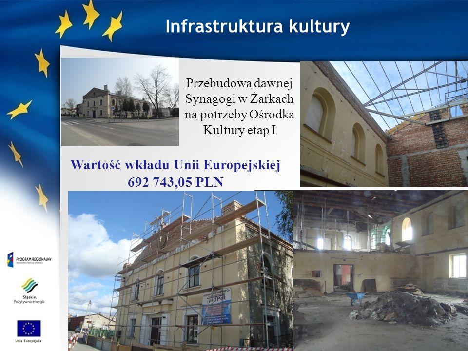 Infrastruktura kultury Przebudowa dawnej Synagogi w Żarkach na potrzeby Ośrodka Kultury etap I Wartość wkładu Unii Europejskiej 692 743,05 PLN