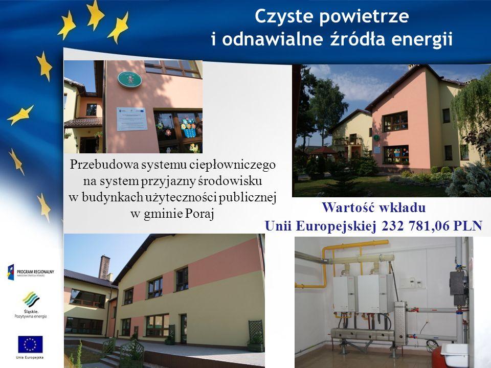 Czyste powietrze i odnawialne źródła energii Przebudowa systemu ciepłowniczego na system przyjazny środowisku w budynkach użyteczności publicznej w gminie Poraj Wartość wkładu Unii Europejskiej 232 781,06 PLN