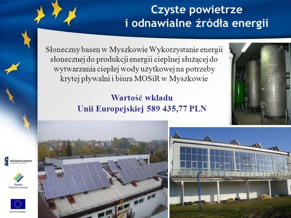 Czyste powietrze i odnawialne źródła energii Słoneczny basen w Myszkowie Wykorzystanie energii słonecznej do produkcji energii cieplnej służącej do wytwarzania ciepłej wody użytkowej na potrzeby krytej pływalni i biura MOSiR w Myszkowie Wartość wkładu Unii Europejskiej 589 435,77 PLN