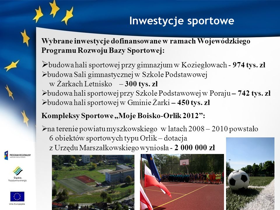 Inwestycje sportowe Wybrane inwestycje dofinansowane w ramach Wojewódzkiego Programu Rozwoju Bazy Sportowej: budowa hali sportowej przy gimnazjum w Koziegłowach - 974 tys.