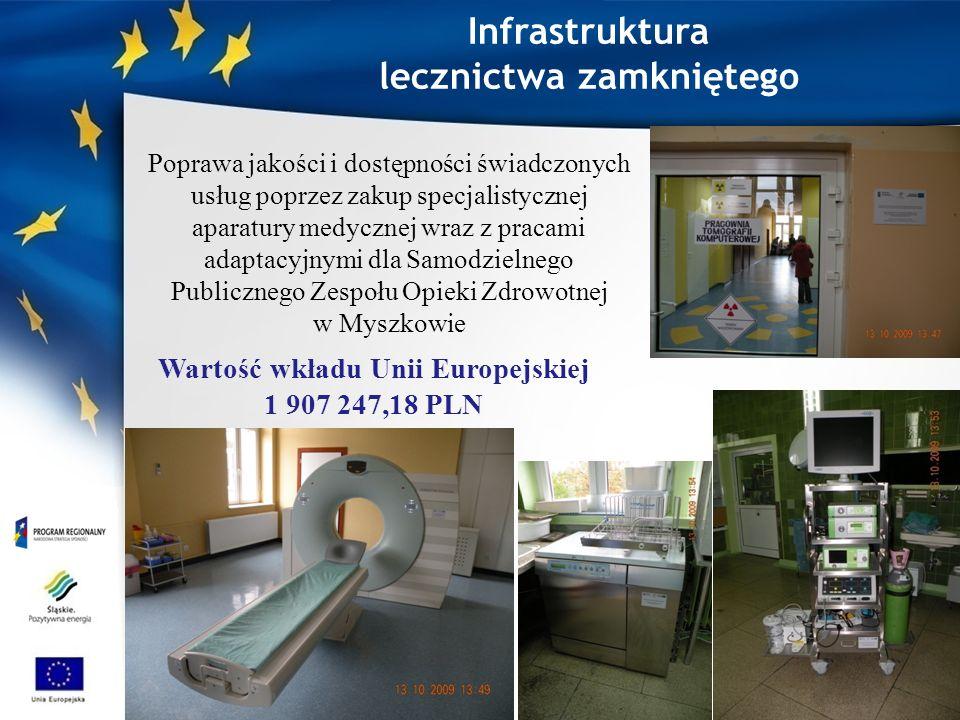 Poprawa jakości i dostępności świadczonych usług poprzez zakup specjalistycznej aparatury medycznej wraz z pracami adaptacyjnymi dla Samodzielnego Publicznego Zespołu Opieki Zdrowotnej w Myszkowie Wartość wkładu Unii Europejskiej 1 907 247,18 PLN Infrastruktura lecznictwa zamkniętego
