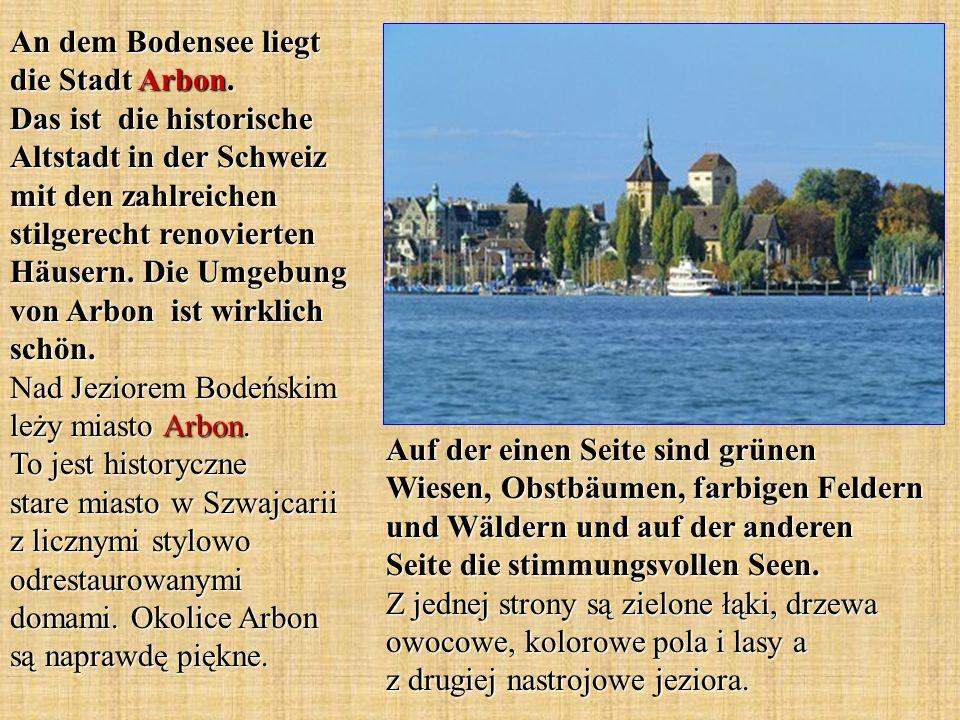 An dem Bodensee liegt die Stadt Arbon. Das ist die historische Altstadt in der Schweiz mit den zahlreichen stilgerecht renovierten Häusern. Die Umgebu