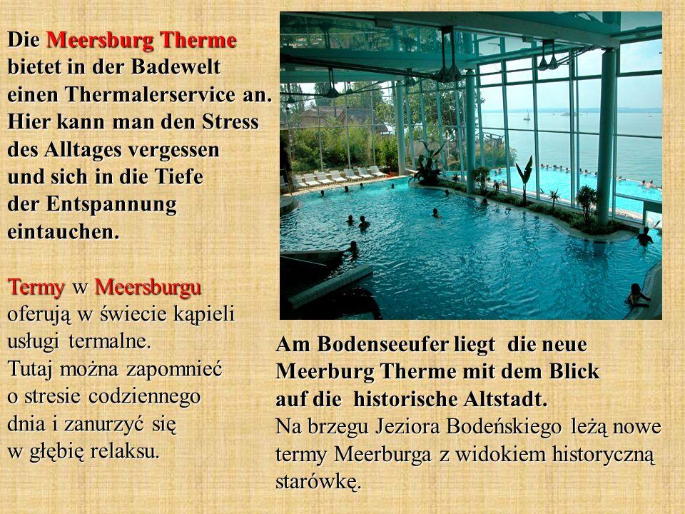 Die Meersburg Therme bietet in der Badewelt einen Thermalerservice an. Hier kann man den Stress des Alltages vergessen und sich in die Tiefe der Entsp