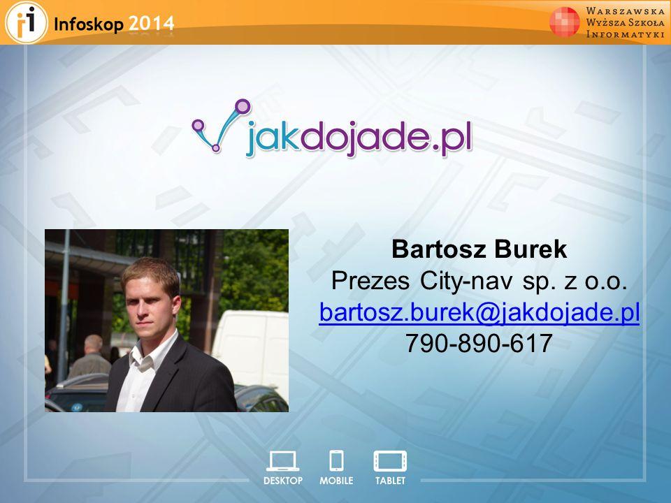 2008 2009 2010 2011 2012 Bartosz Burek Prezes City-nav sp. z o.o. bartosz.burek@jakdojade.pl 790-890-617
