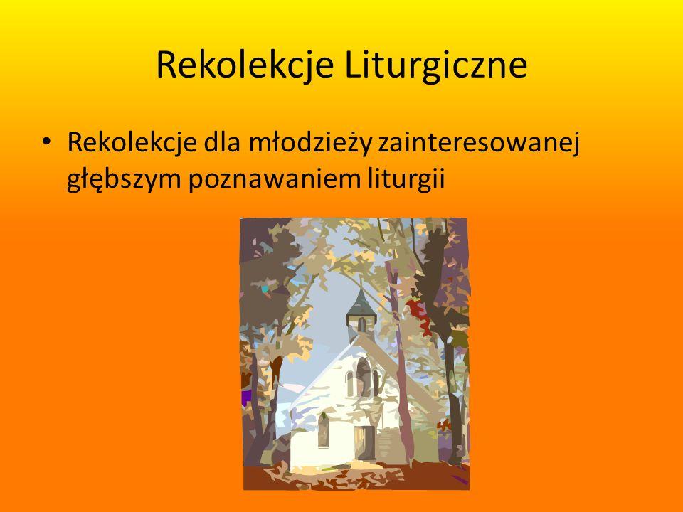 Rekolekcje Liturgiczne Rekolekcje dla młodzieży zainteresowanej głębszym poznawaniem liturgii