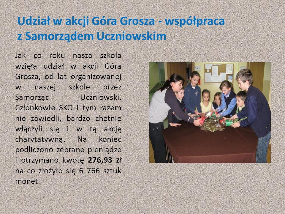 Udział w akcji Góra Grosza - współpraca z Samorządem Uczniowskim Jak co roku nasza szkoła wzięła udział w akcji Góra Grosza, od lat organizowanej w na