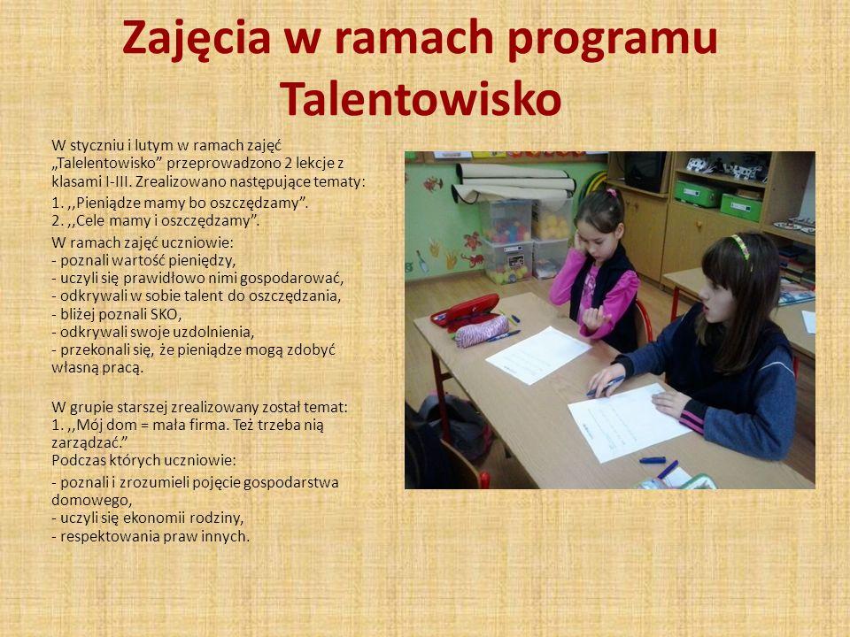 Zajęcia w ramach programu Talentowisko W styczniu i lutym w ramach zajęć Talelentowisko przeprowadzono 2 lekcje z klasami I-III. Zrealizowano następuj