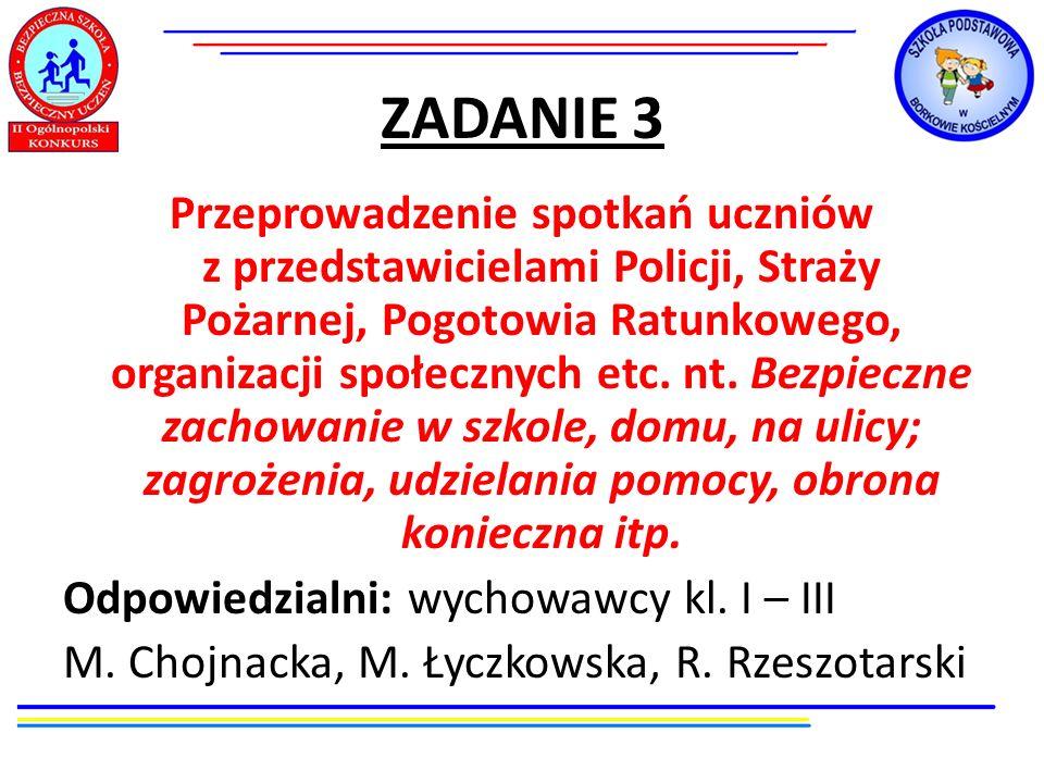 ZADANIE 3 Przeprowadzenie spotkań uczniów z przedstawicielami Policji, Straży Pożarnej, Pogotowia Ratunkowego, organizacji społecznych etc. nt. Bezpie