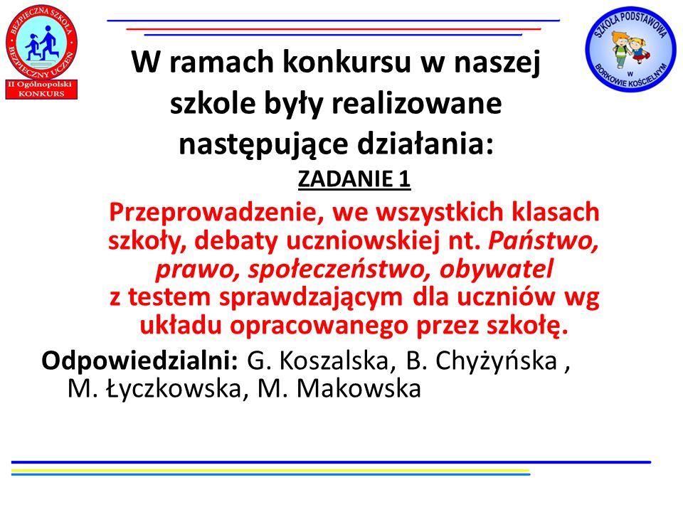 W ramach konkursu w naszej szkole były realizowane następujące działania: ZADANIE 1 Przeprowadzenie, we wszystkich klasach szkoły, debaty uczniowskiej
