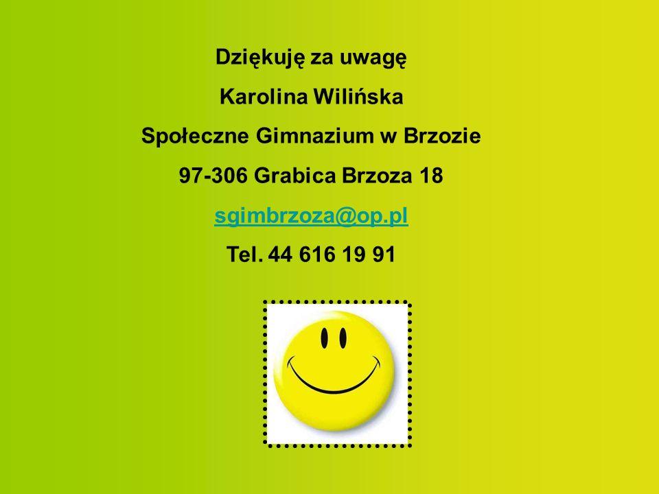 Dziękuję za uwagę Karolina Wilińska Społeczne Gimnazium w Brzozie 97-306 Grabica Brzoza 18 sgimbrzoza@op.pl Tel. 44 616 19 91
