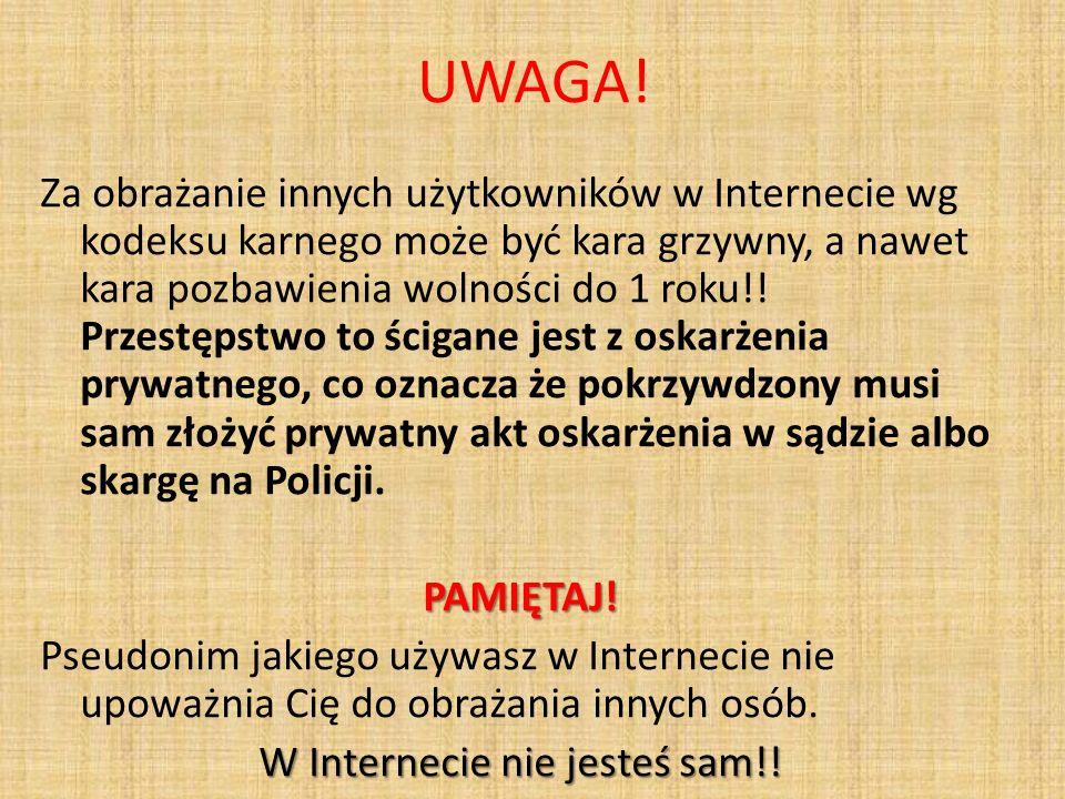 UWAGA! Za obrażanie innych użytkowników w Internecie wg kodeksu karnego może być kara grzywny, a nawet kara pozbawienia wolności do 1 roku!! Przestęps