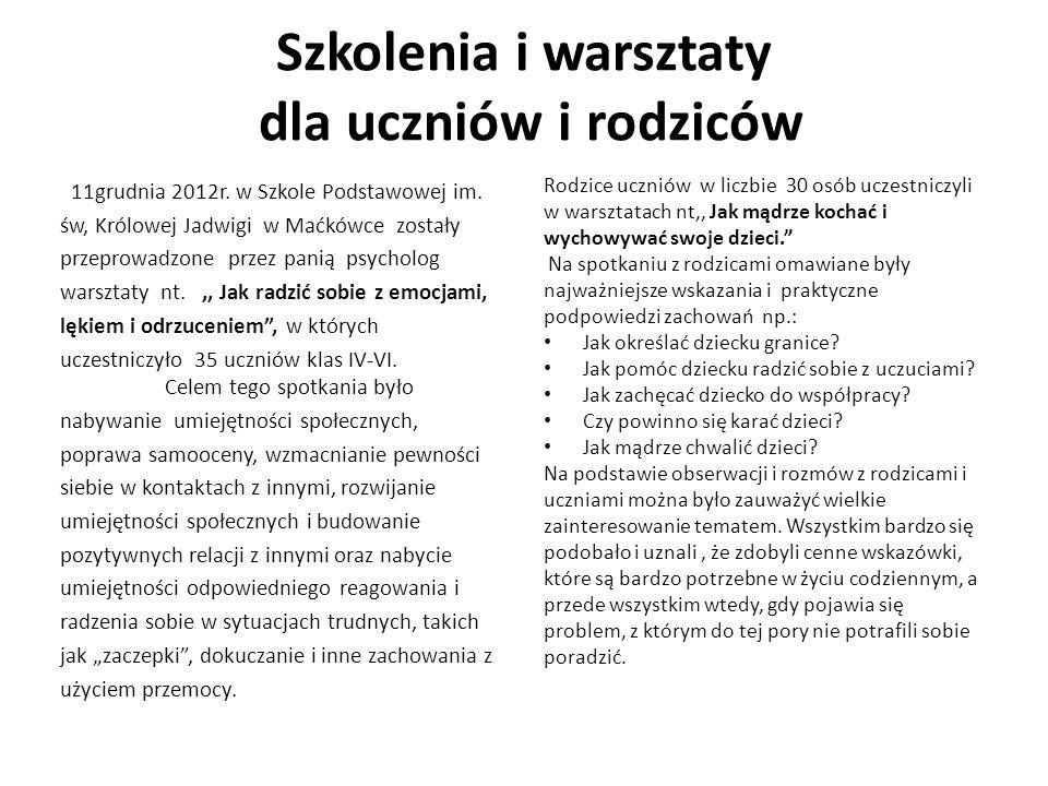 Szkolenia i warsztaty dla uczniów i rodziców 11grudnia 2012r.