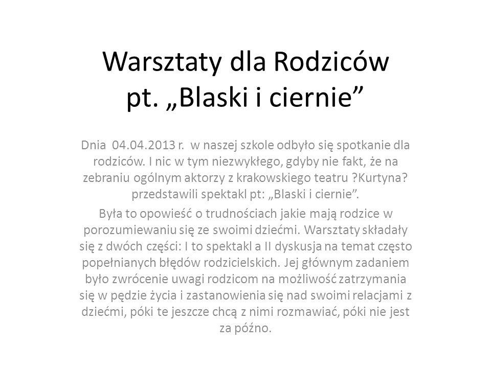 Warsztaty dla Rodziców pt.Blaski i ciernie Dnia 04.04.2013 r.