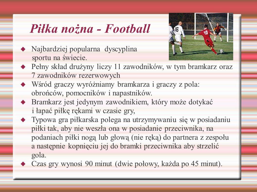 Piłka nożna - Football Najbardziej popularna dyscyplina sportu na świecie. Pełny skład drużyny liczy 11 zawodników, w tym bramkarz oraz 7 zawodników r