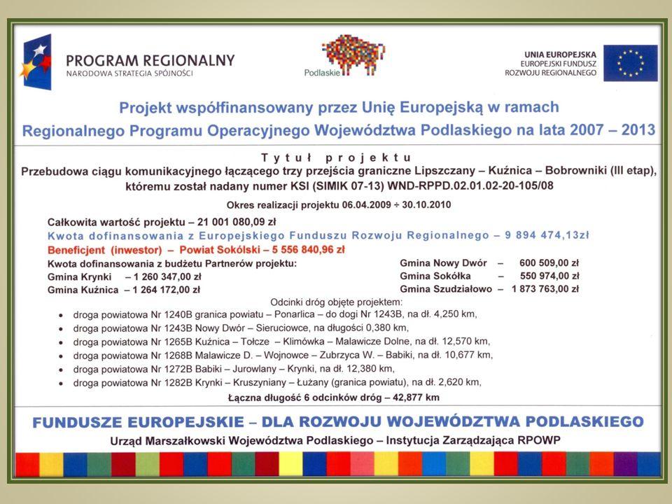 Przebudowa ciągu komunikacyjnego łączącego trzy przejścia graniczne Lipszczany – Kuźnica – Bobrowniki (etap III)