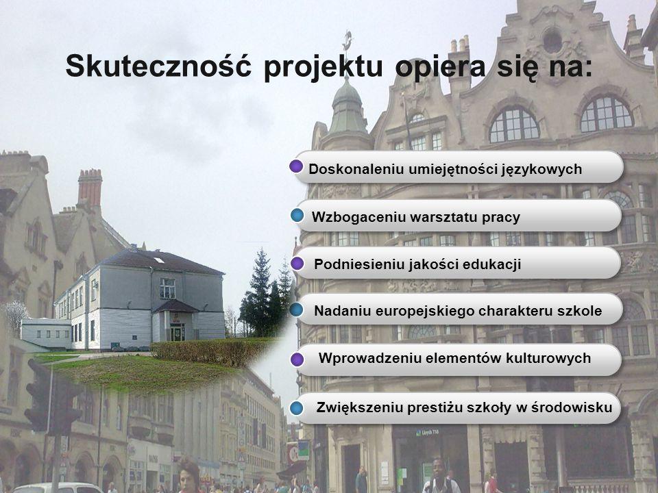 Skuteczność projektu opiera się na: Doskonaleniu umiejętności językowych Wzbogaceniu warsztatu pracy Podniesieniu jakości edukacji Nadaniu europejskie