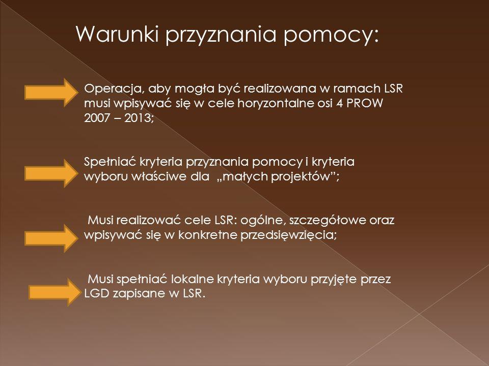 Operacja, aby mogła być realizowana w ramach LSR musi wpisywać się w cele horyzontalne osi 4 PROW 2007 – 2013; Spełniać kryteria przyznania pomocy i kryteria wyboru właściwe dla małych projektów; Musi realizować cele LSR: ogólne, szczegółowe oraz wpisywać się w konkretne przedsięwzięcia; Musi spełniać lokalne kryteria wyboru przyjęte przez LGD zapisane w LSR.