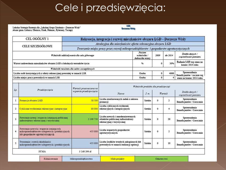 Cele i przedsięwzięcia: