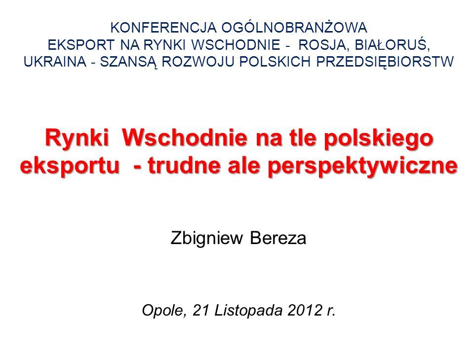 Rynki Wschodnie na tle polskiego eksportu - trudne ale perspektywiczne KONFERENCJA OGÓLNOBRANŻOWA EKSPORT NA RYNKI WSCHODNIE - ROSJA, BIAŁORUŚ, UKRAIN
