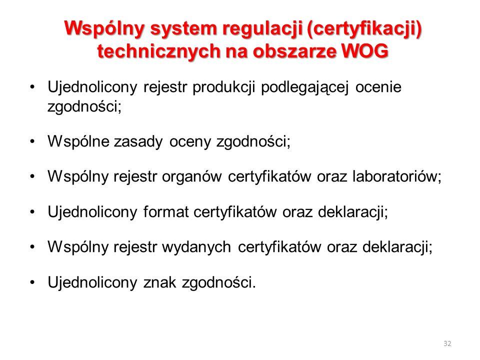 Wspólny system regulacji (certyfikacji) technicznych na obszarze WOG Ujednolicony rejestr produkcji podlegającej ocenie zgodności; Wspólne zasady ocen