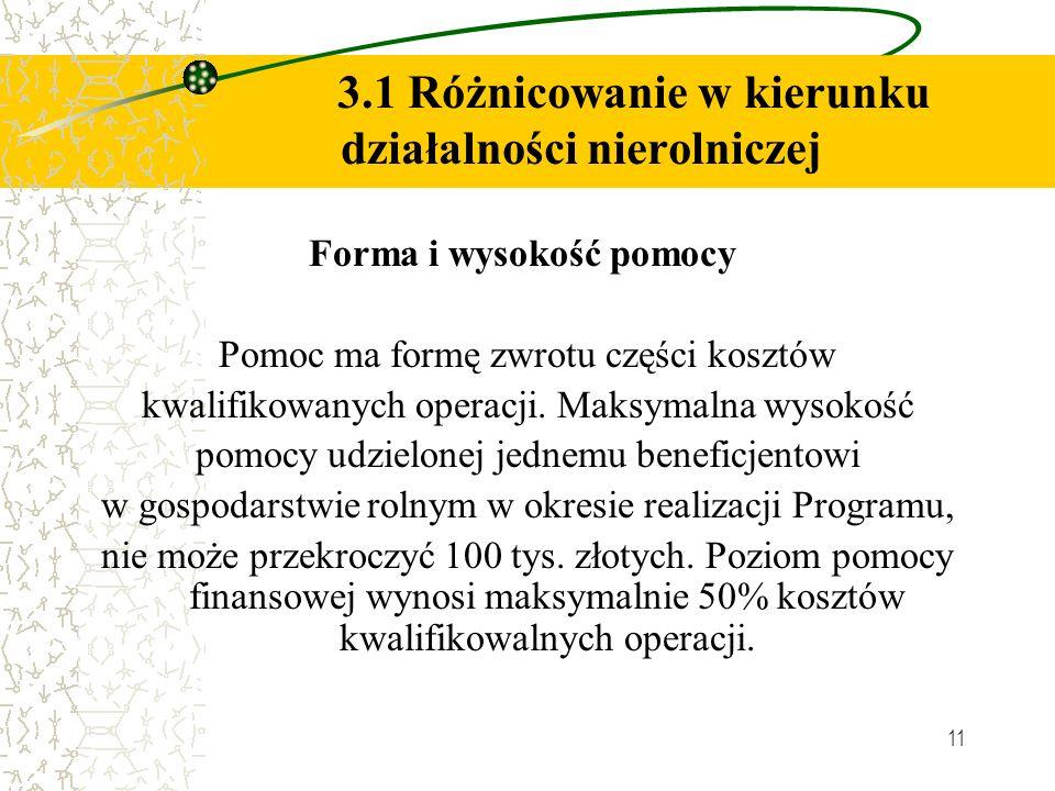 11 3.1 Różnicowanie w kierunku działalności nierolniczej Forma i wysokość pomocy Pomoc ma formę zwrotu części kosztów kwalifikowanych operacji. Maksym
