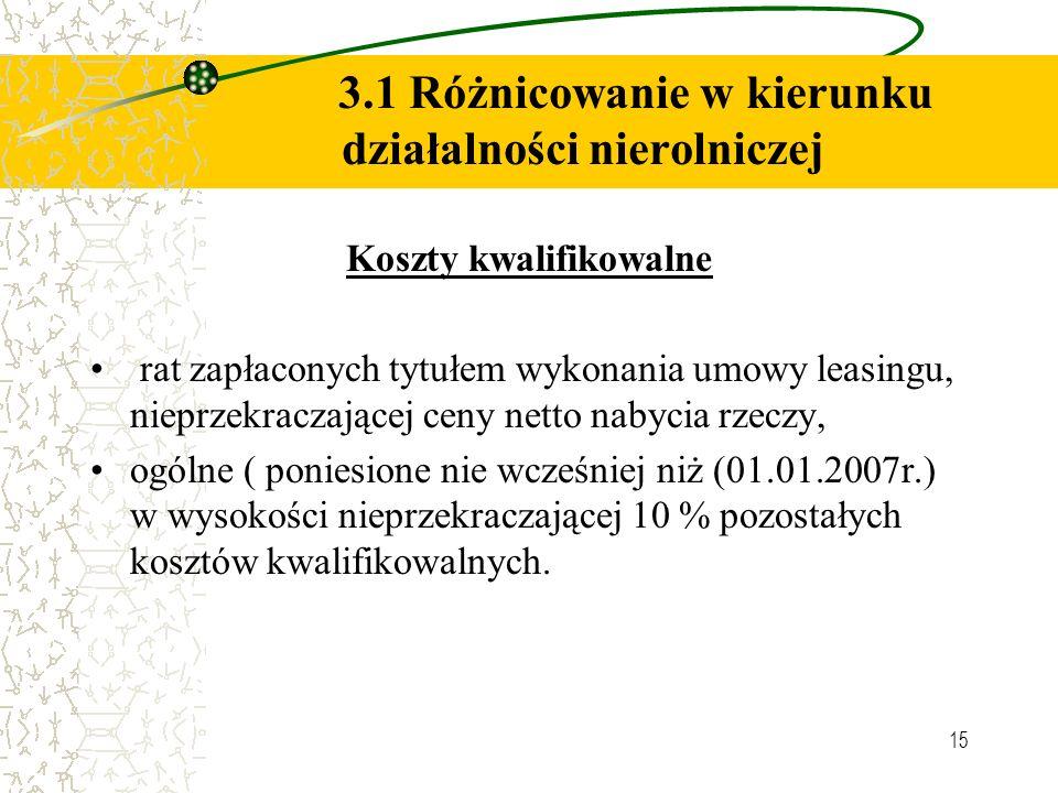 15 3.1 Różnicowanie w kierunku działalności nierolniczej Koszty kwalifikowalne rat zapłaconych tytułem wykonania umowy leasingu, nieprzekraczającej ce