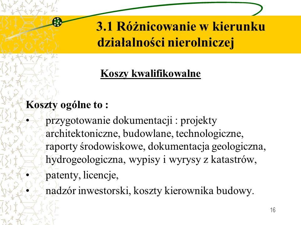 16 3.1 Różnicowanie w kierunku działalności nierolniczej Koszy kwalifikowalne Koszty ogólne to : przygotowanie dokumentacji : projekty architektoniczne, budowlane, technologiczne, raporty środowiskowe, dokumentacja geologiczna, hydrogeologiczna, wypisy i wyrysy z katastrów, patenty, licencje, nadzór inwestorski, koszty kierownika budowy.